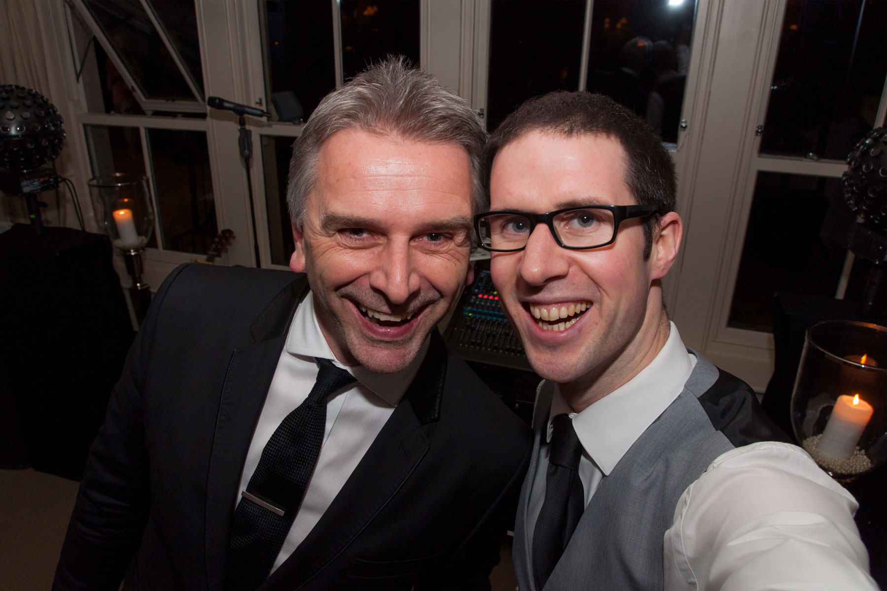 Selfie of Paul Guard and Adam Carr at a Wedding.