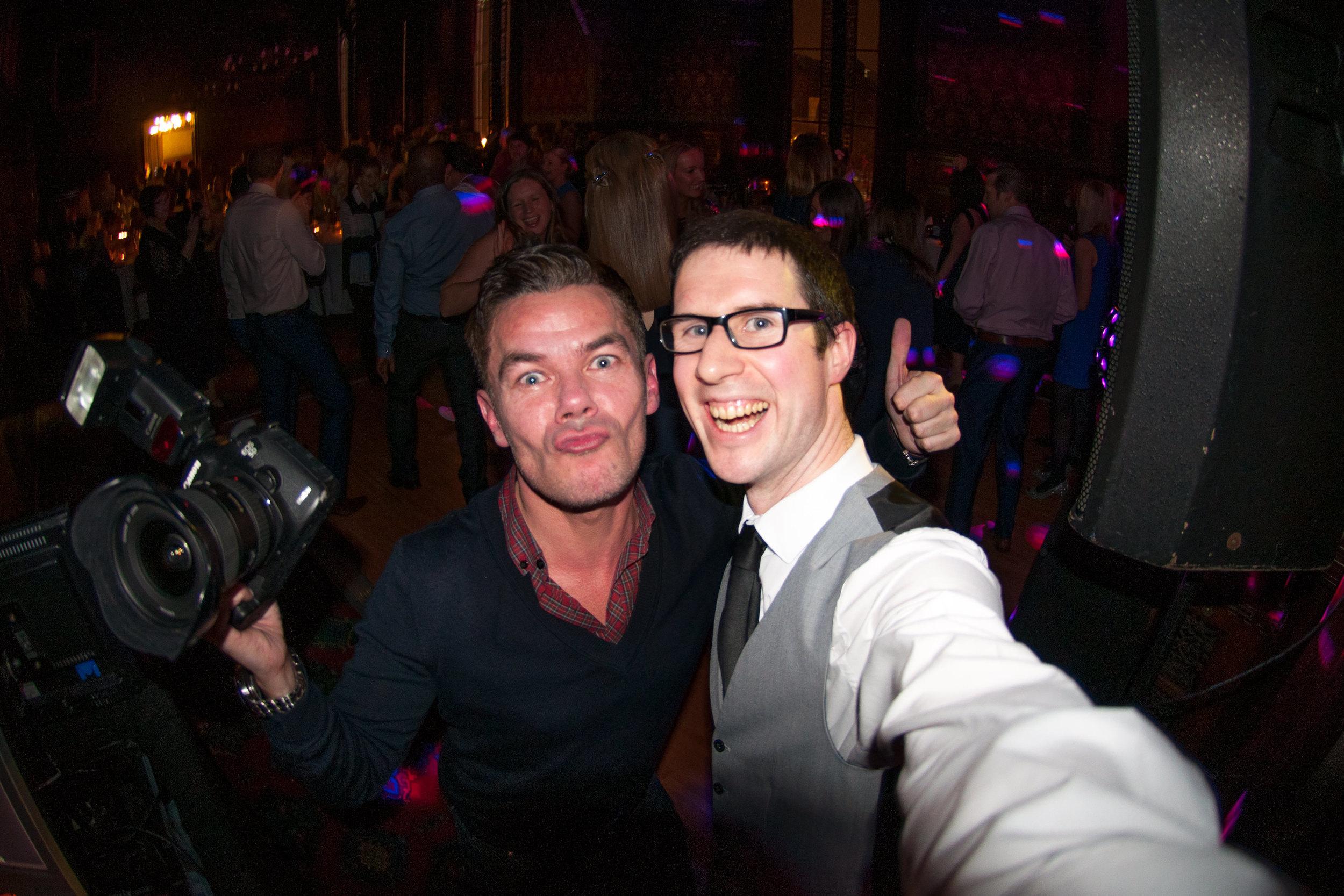 Fish-Eye Lens selfie of Damian and Adam