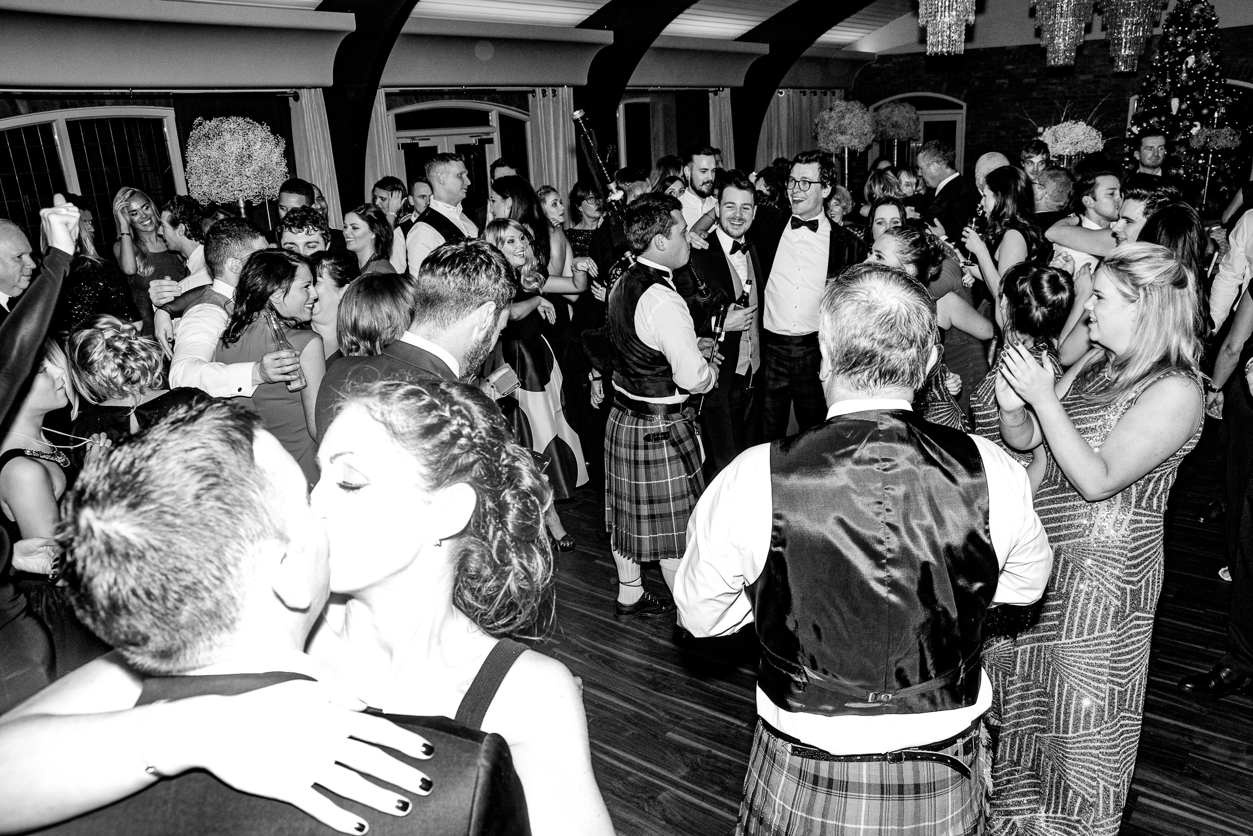Crowd shot from midnight.Kissing, Bag-pipes, Kilts, and a little chaos.