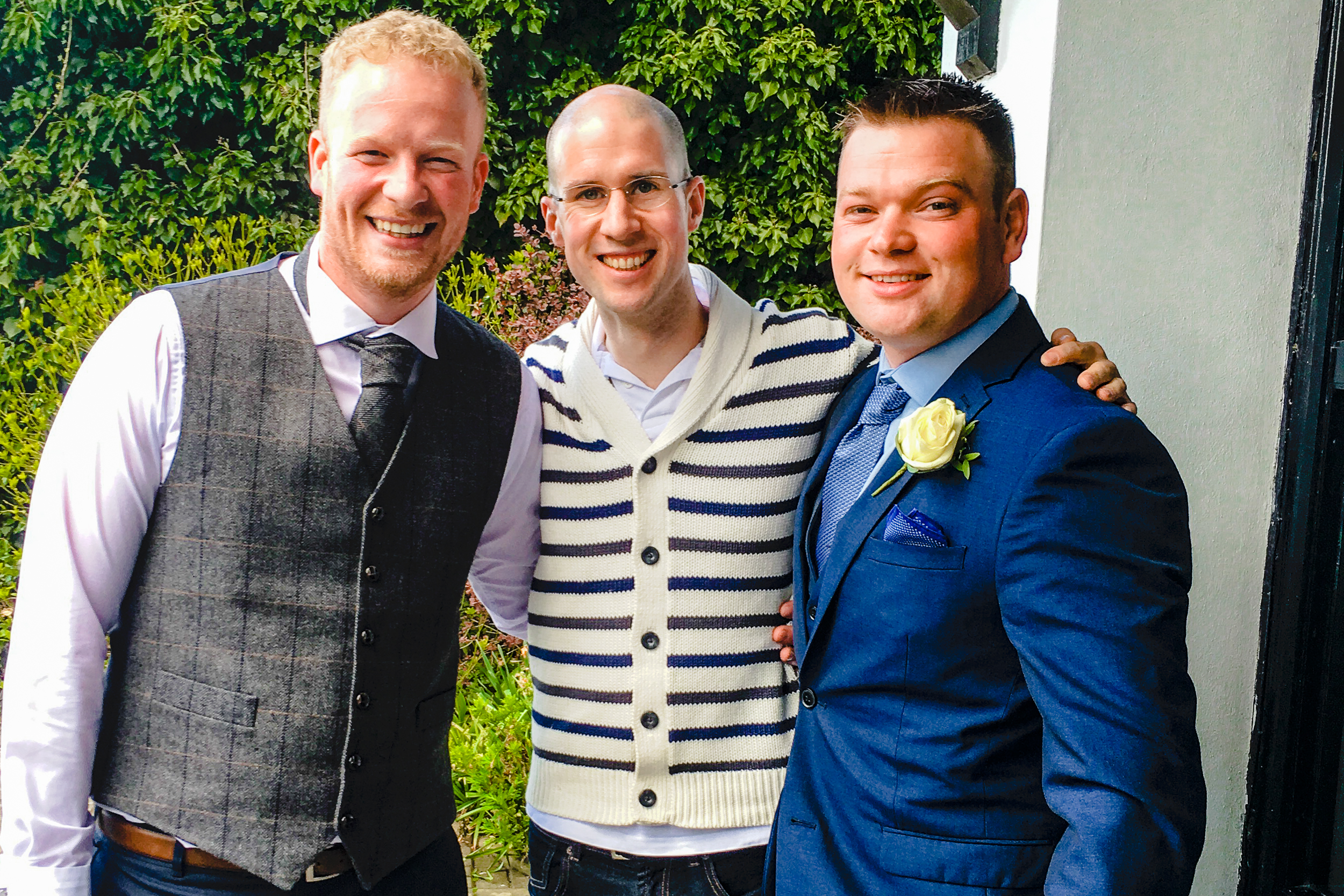 Wedding DJ Adam Carr in Tarporley, Cheshire with Mark on his Wedding Day and Phil who Adam played for on his Wedding day.