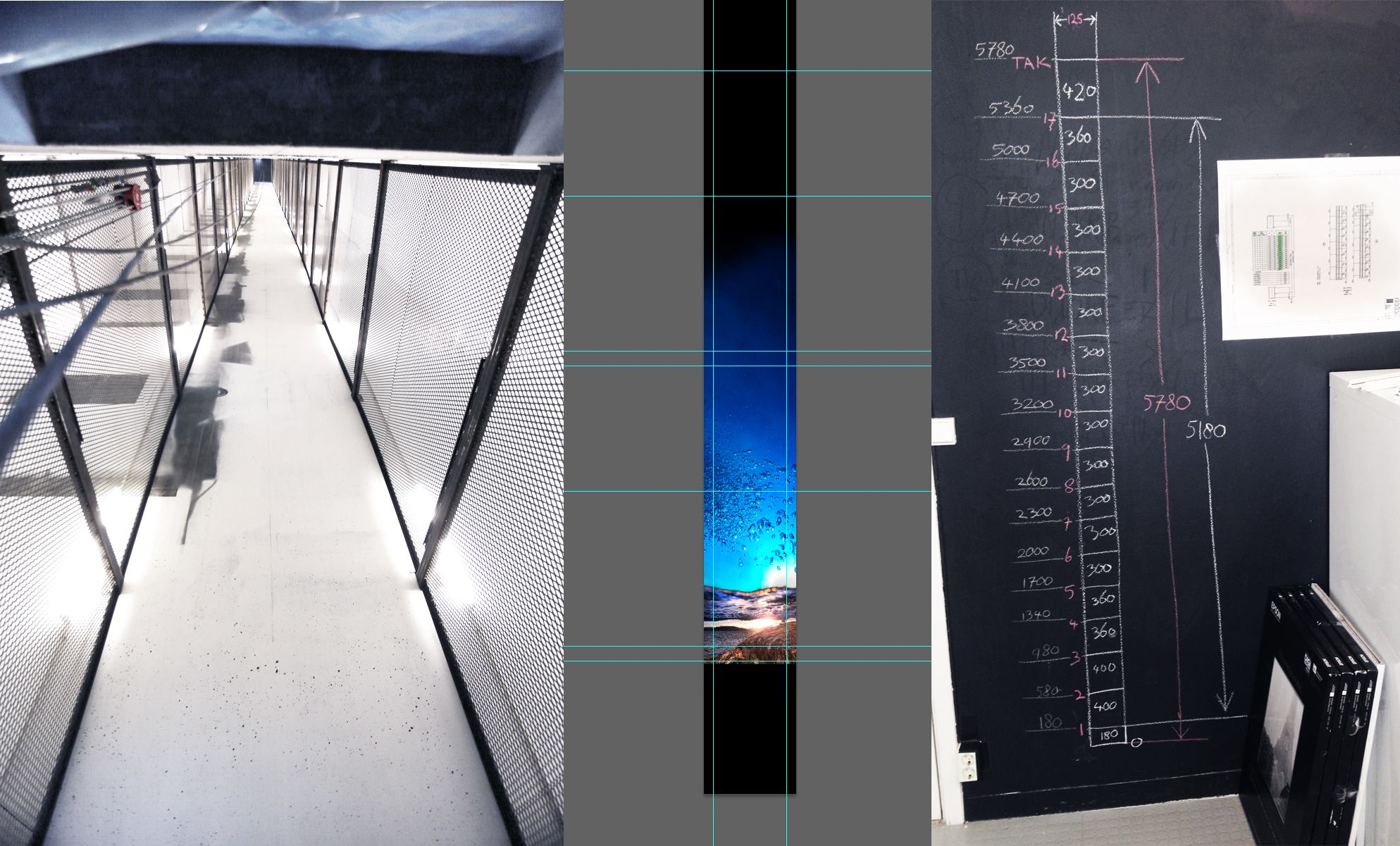First calculations and drawings of each floor level and the distance in between, including floor thickness.