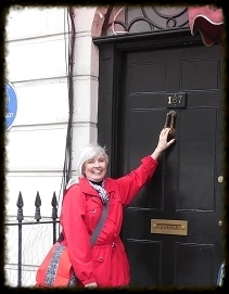 Sherlock Filming Location - N. Gower Street - The Address is changed, but the doorknocker remains the same, crooked..JPG