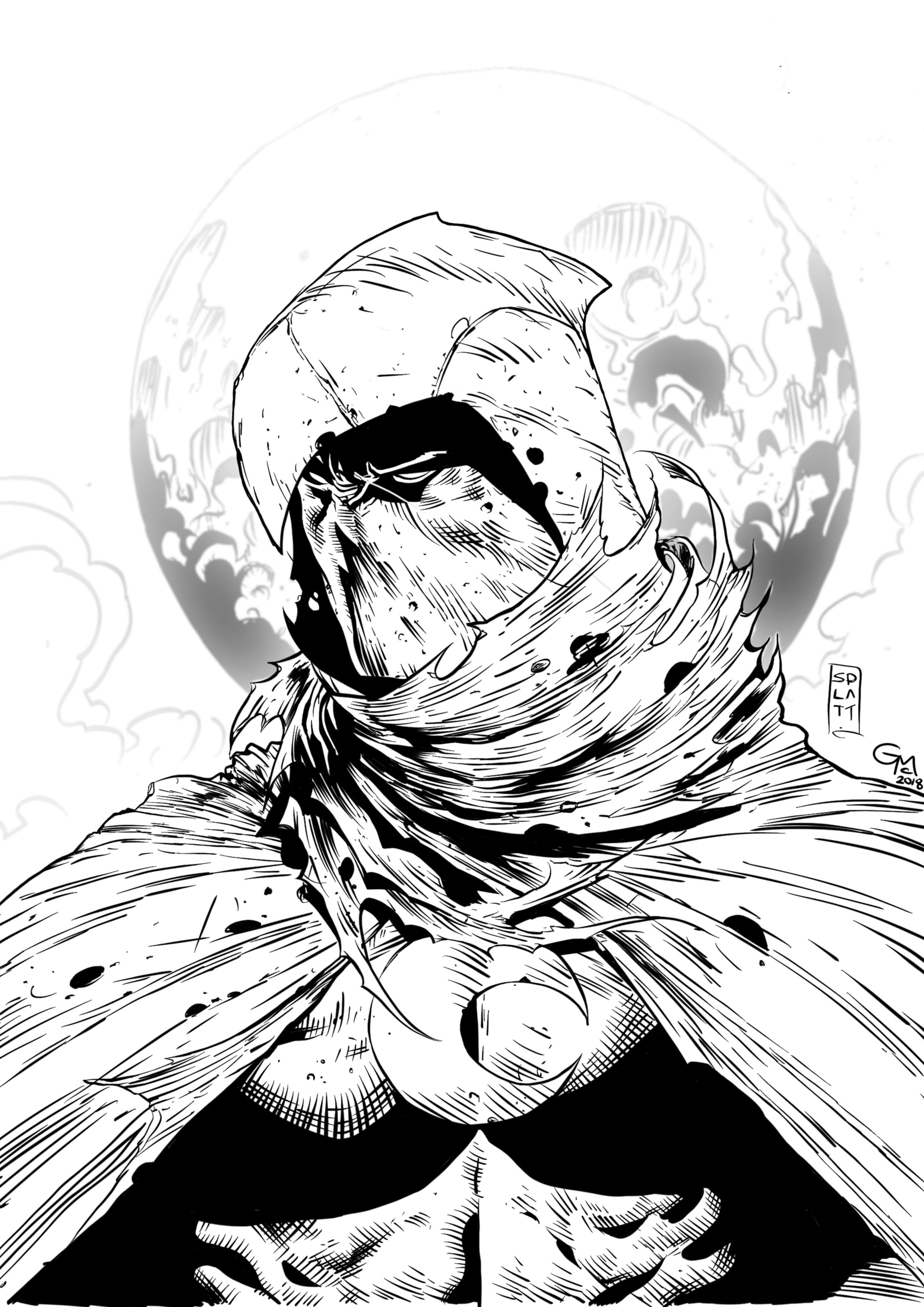 Moon Knight - My inks over the amazing pencilwork of Stephen Platt