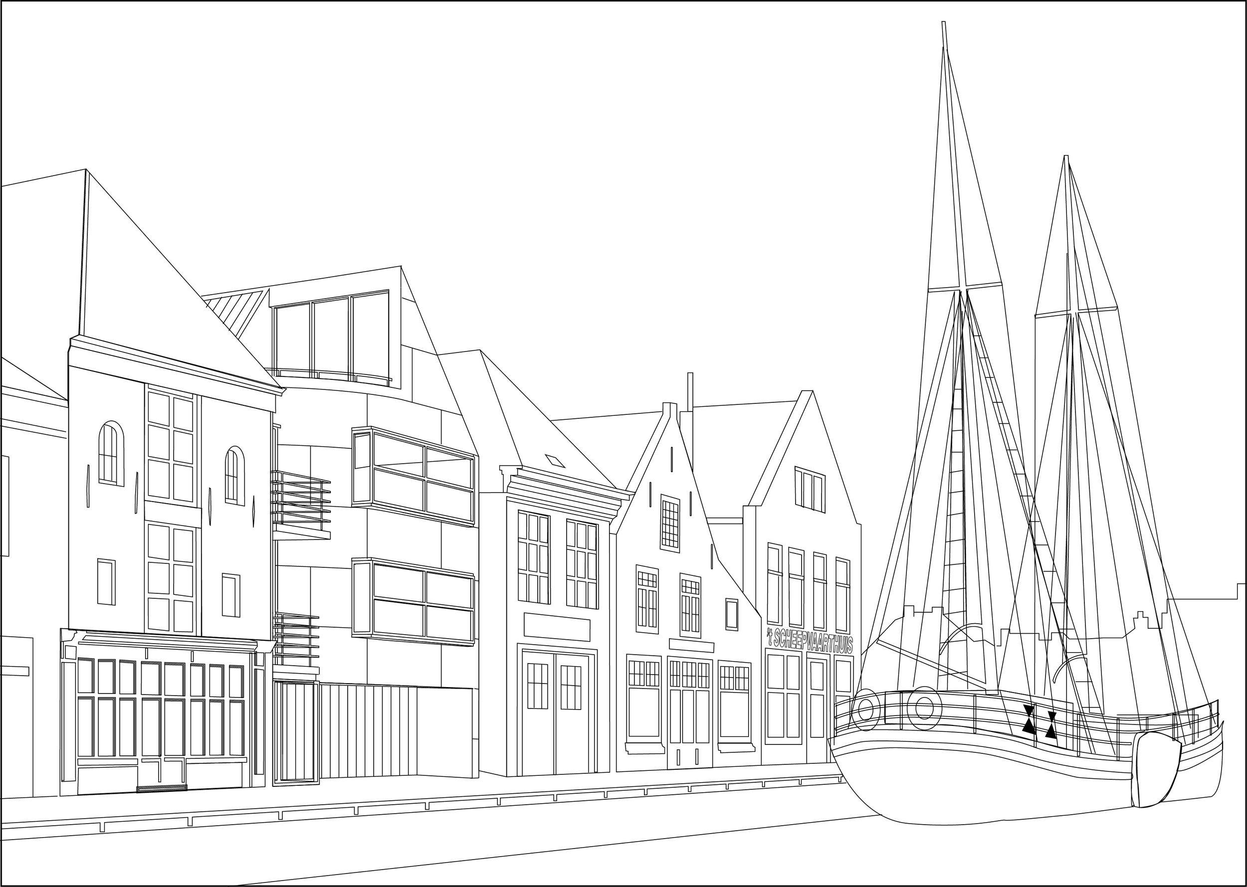Twee woningen schets - Alkmaar