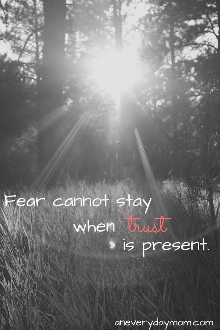 Fear cannot stay when trust is present. -An Everyday Mom