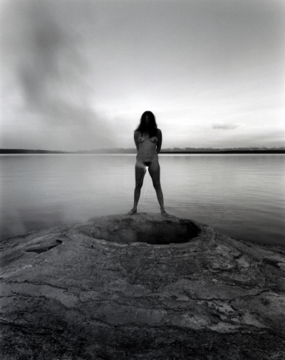 Judy Dater.  Self-Portrait with Steam Vent  [ Self-Portrait with Sparkler ], 1981;Gelatin silver print, 15 x 19 in.;Courtesy di Rosa Collection, Napa