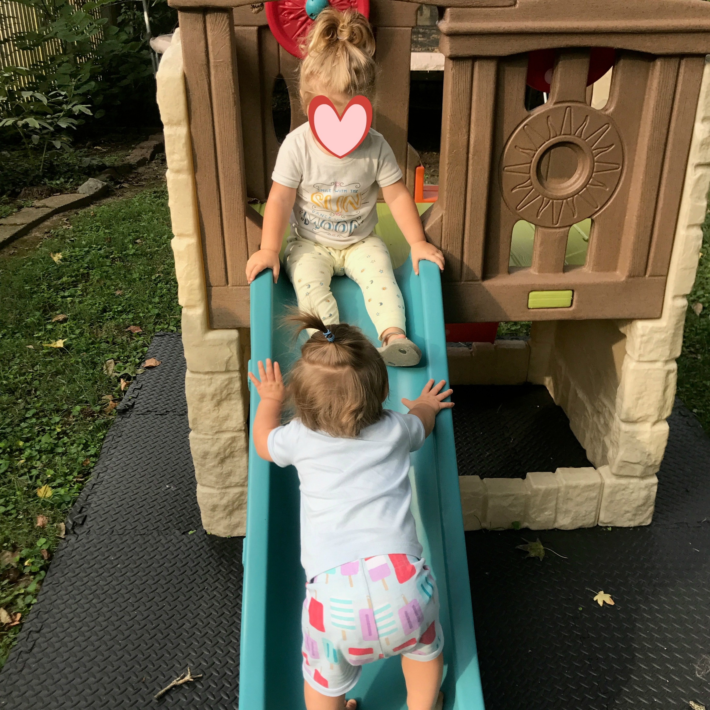 We bought a play structure for the backyard because F turned 2 in August, and E turns 1 in September. It's everyone's favorite thing.