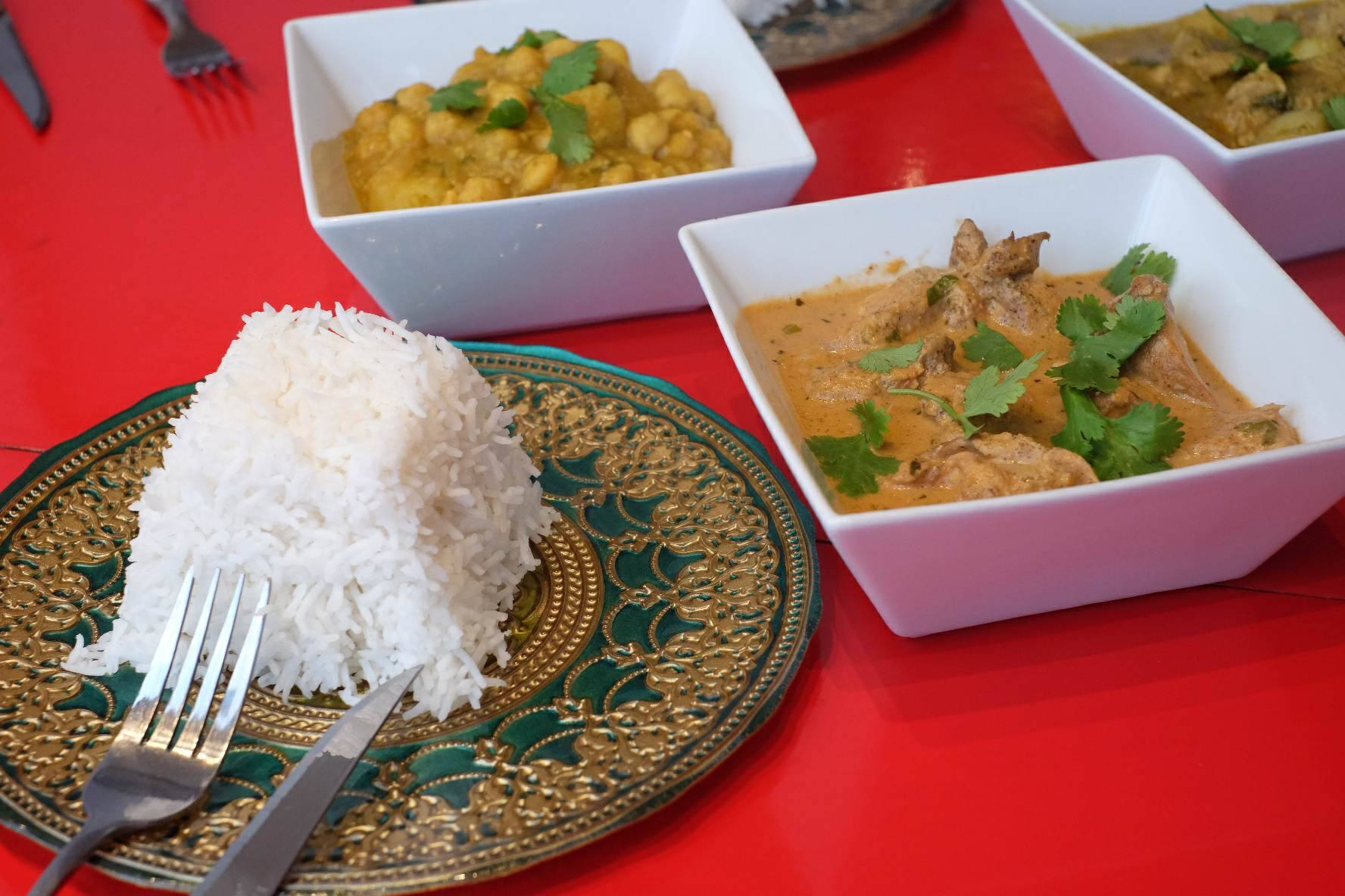 Chana (above) and Tomato coconut curry chicken (bottom right)