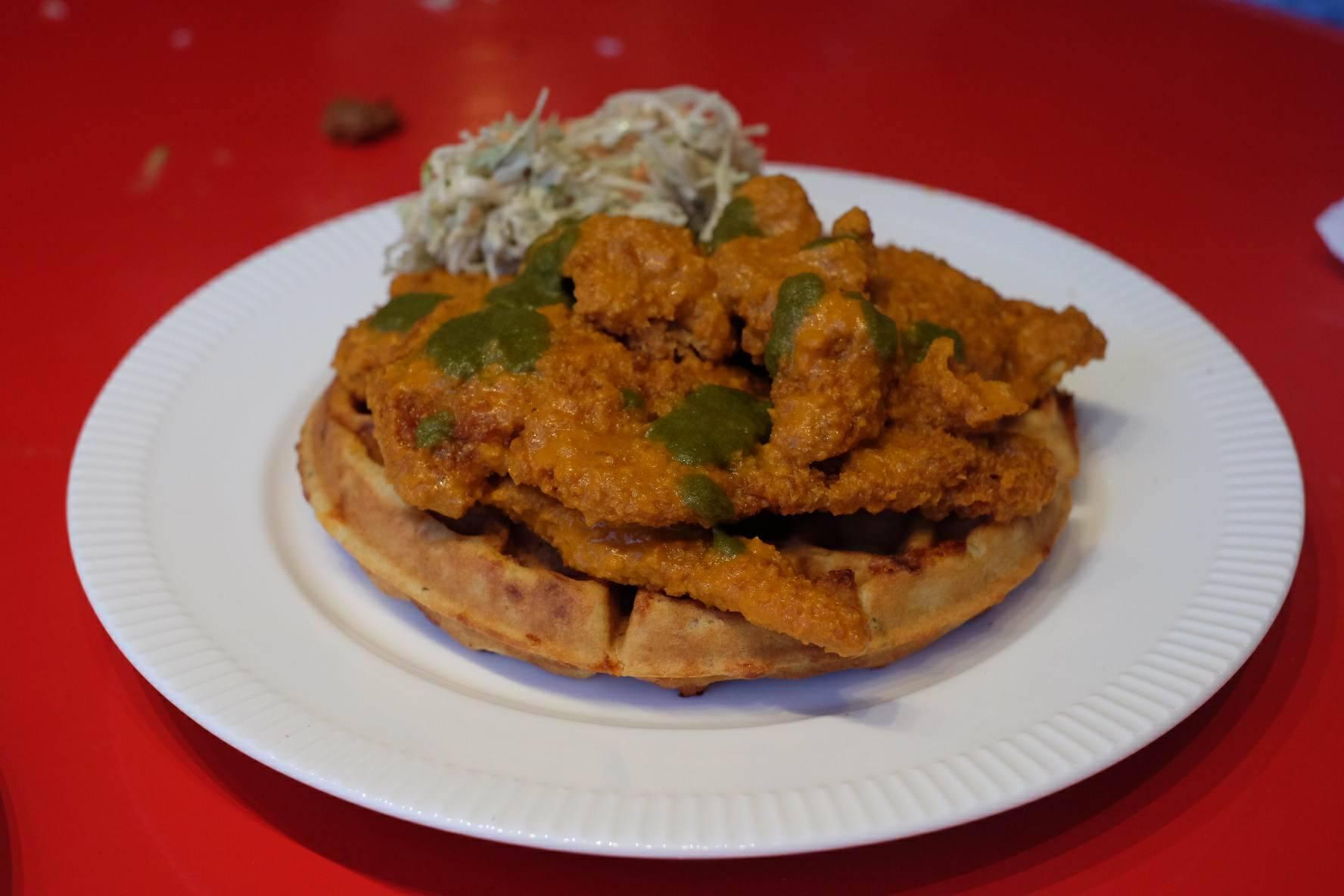 Chicken Schnitzel on a Rosemary Cheddar Waffle