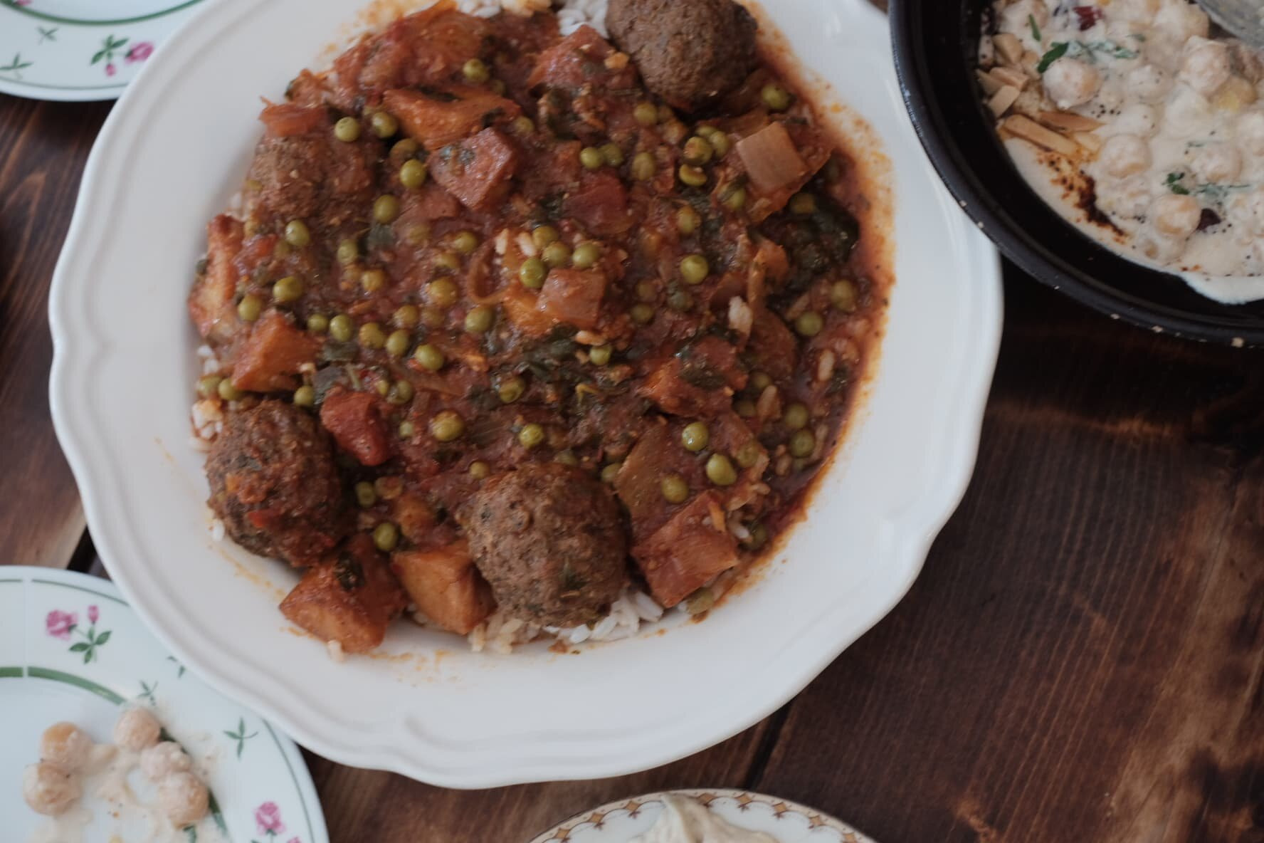Dawood Basha (meat balls with potato in spiced tomato stew over rice)