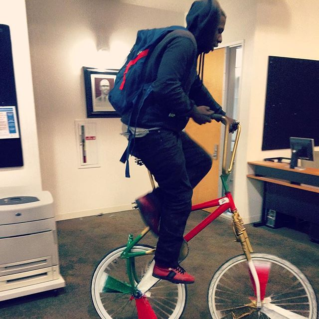 Some of us come to work in more style than the rest! @yu_green_oakland crew member showing up in his custom made ride @youthuprising