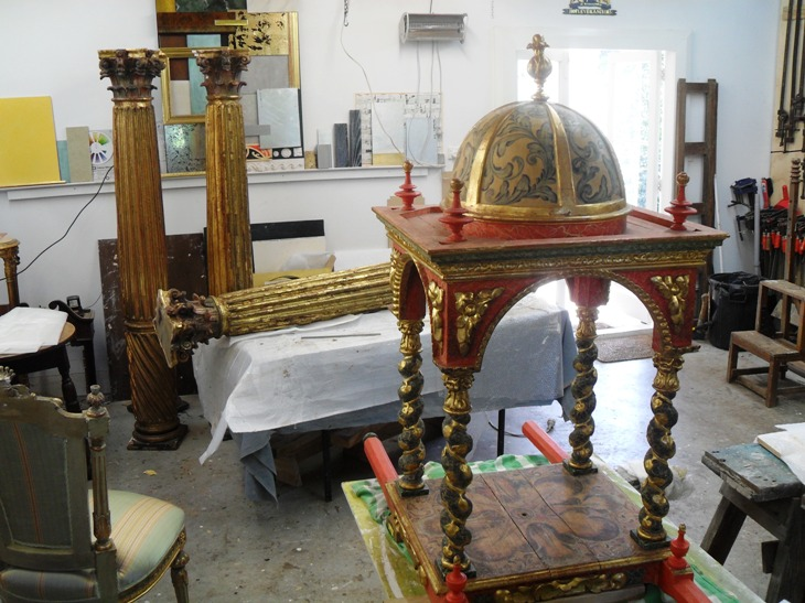 Painted Furniture Restoration: Spanish style painted and gilded furniture and objects being restored.