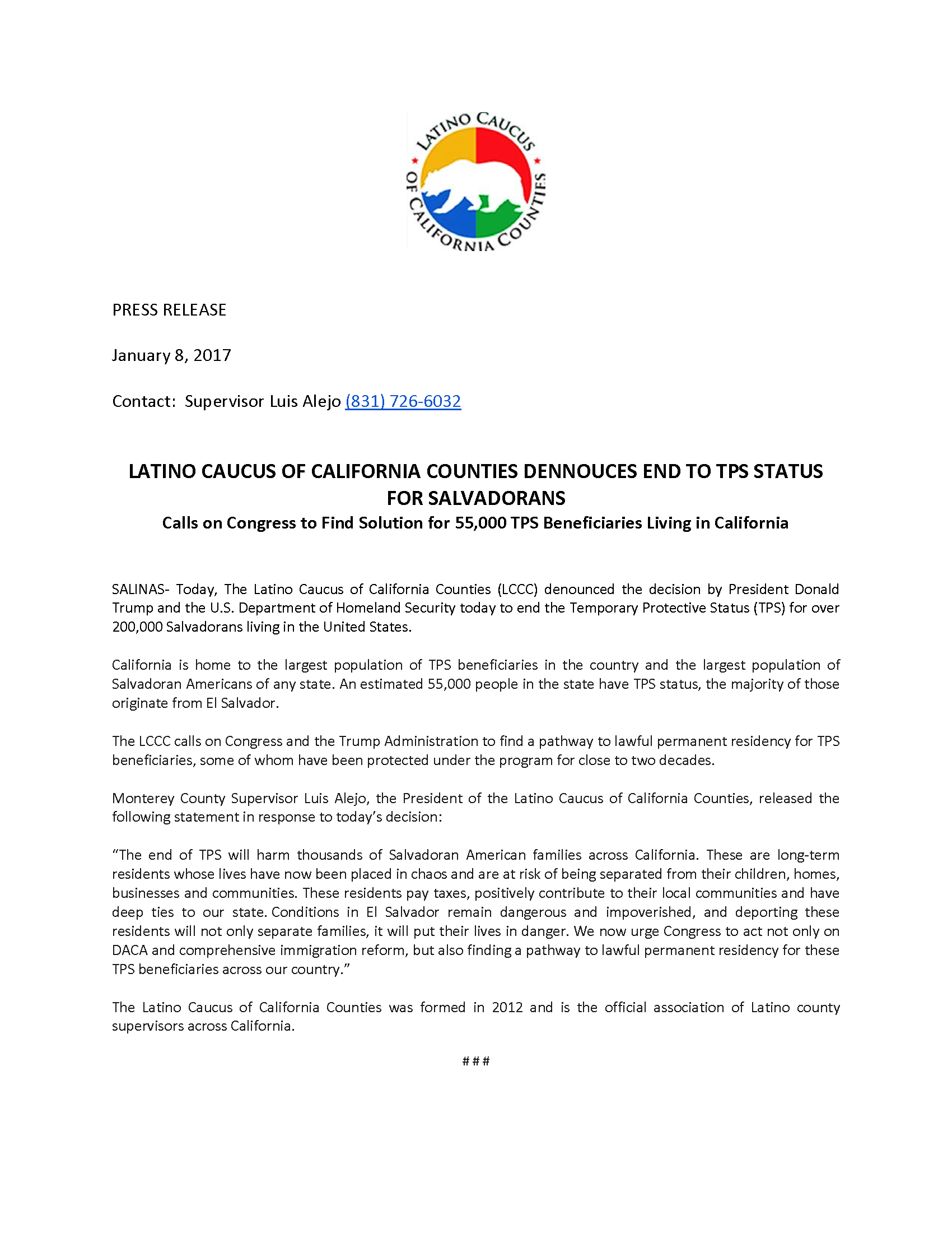 PRESS RELEASE- LCCC on TPS  Status.png
