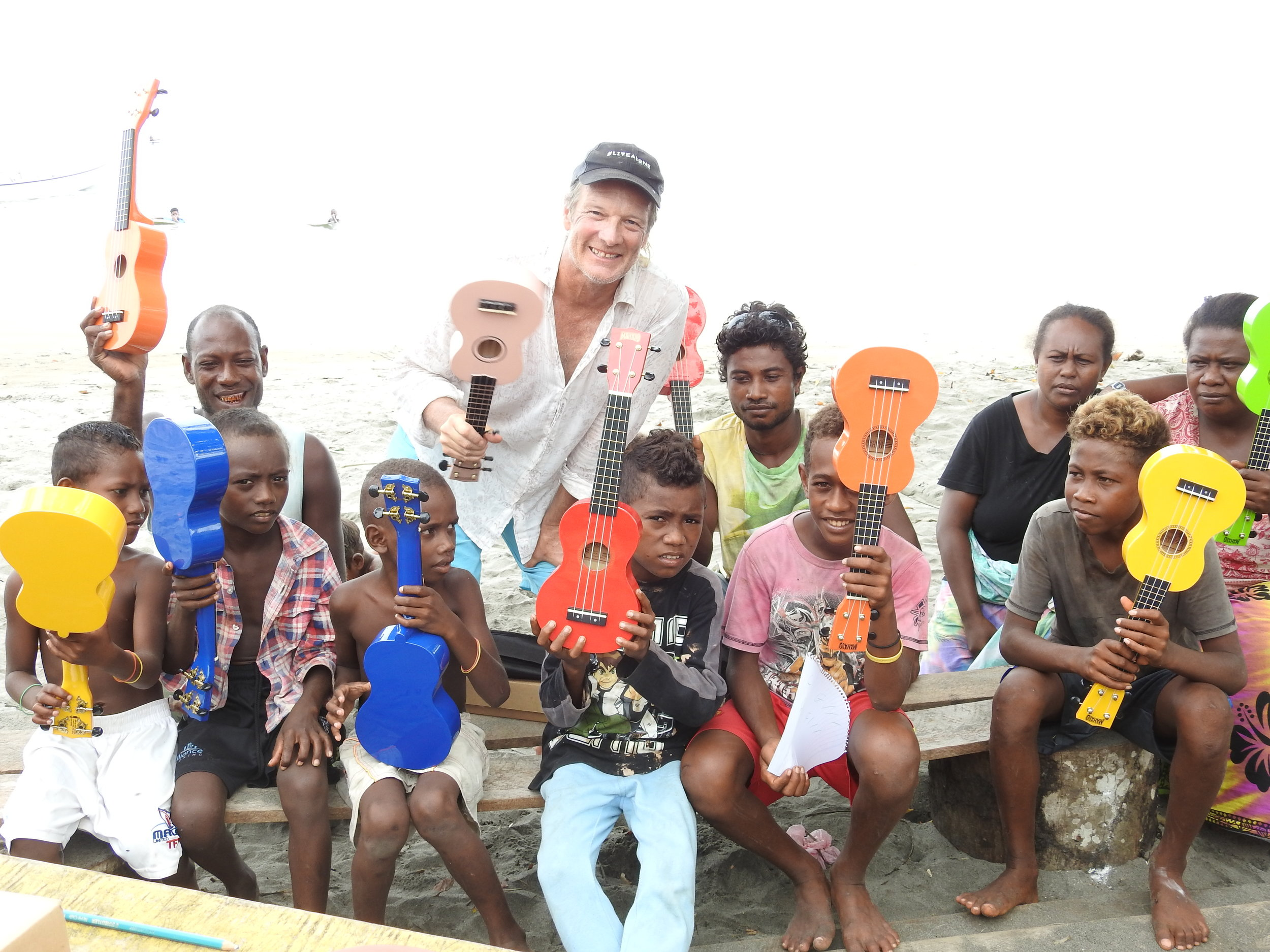 cHRIS'S DONATION OF UKULELE'S LOVED BY THE VILLAGE!