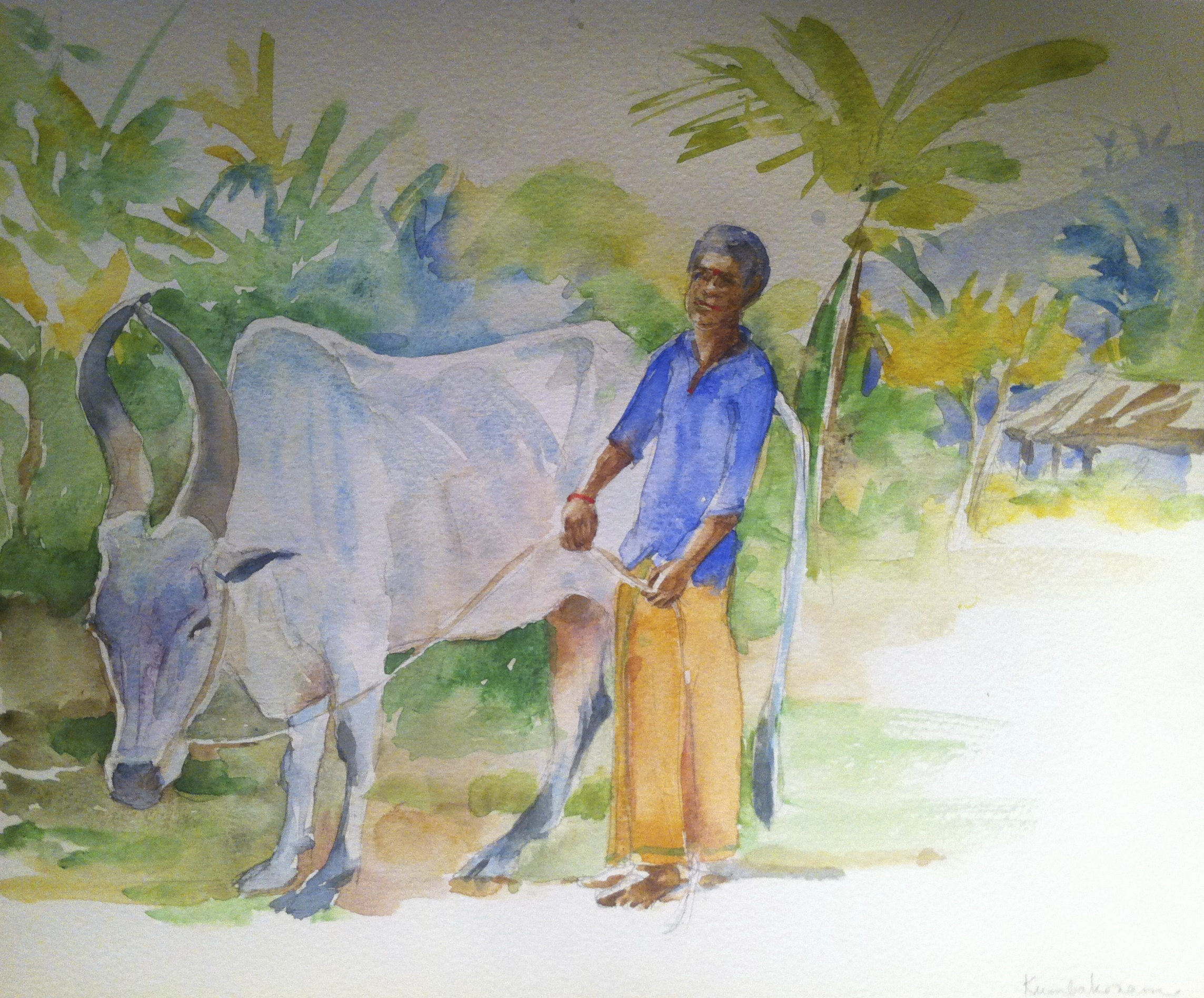 Gopala. Cowherd in Kumbakonam, Tamil Nadu