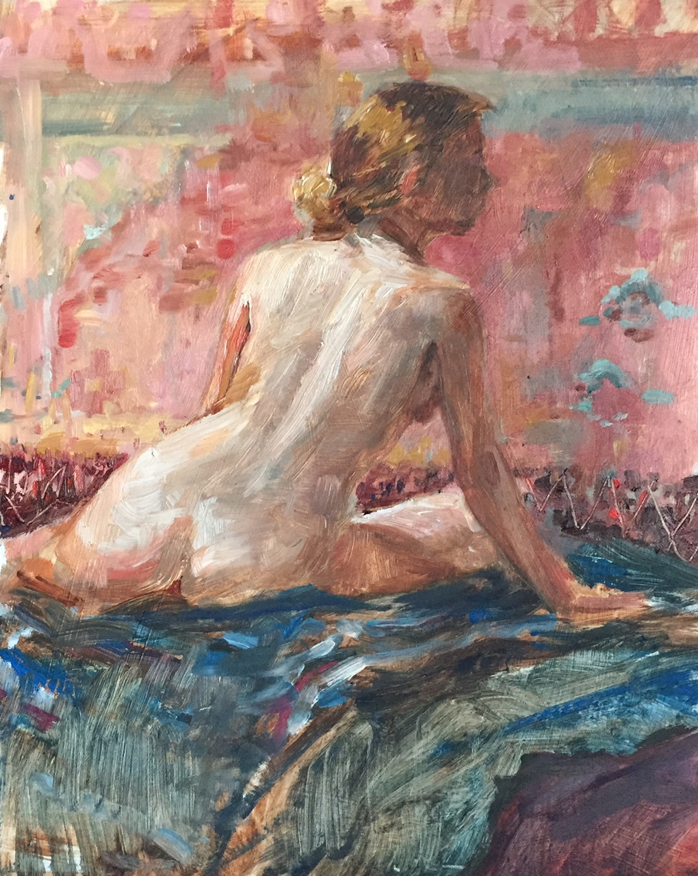 Nude with Rose Oriental Rug
