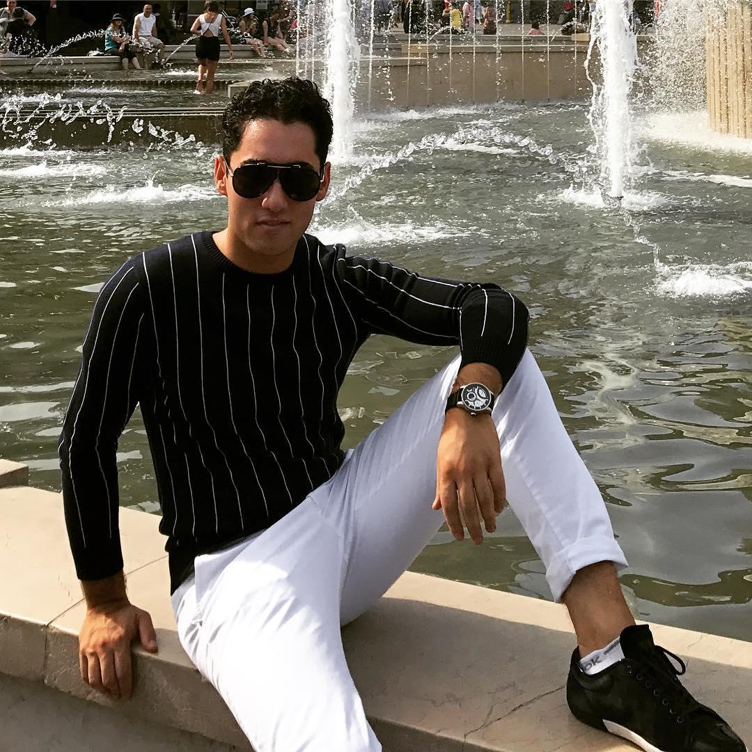 - Gant SweaterArmani SneakersTom Ford SunglassesLocation: Fontana Piazza Castello in Milan, Italy