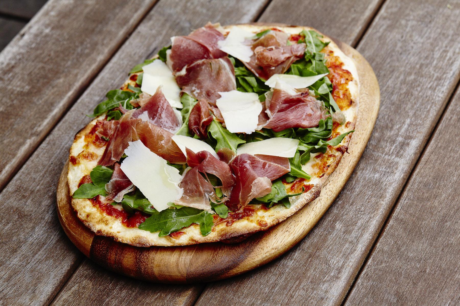 Parma Ham and Rocket Naan Pizza