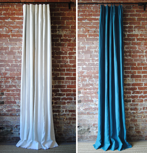 Solid Panels in our knife pleat (left) and euro pleat (right)