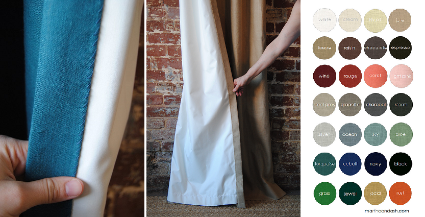 Left:All hems are blind hemmed with never any top stitching. Middle:Blackout lining comes standard.Right: 28 linen colors to choose from with  free samples.