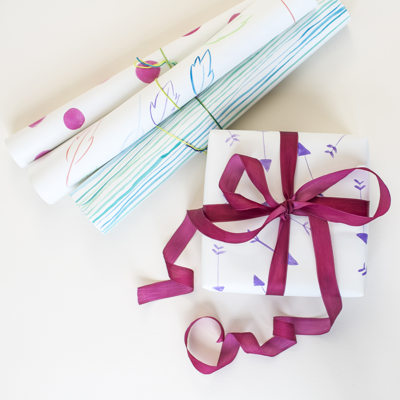 Hand Painted Wrapping Paper  for  Charlotte Lane |  Heidi Geldhauser