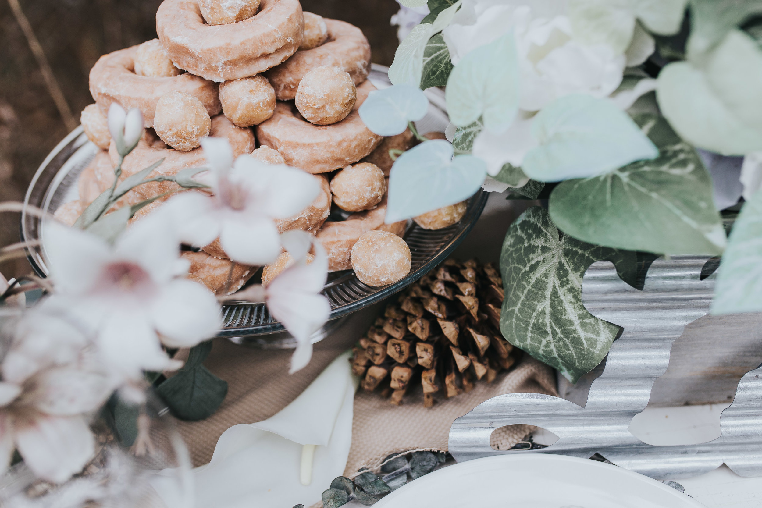 Donuts on table for styled shoot in novi michigan