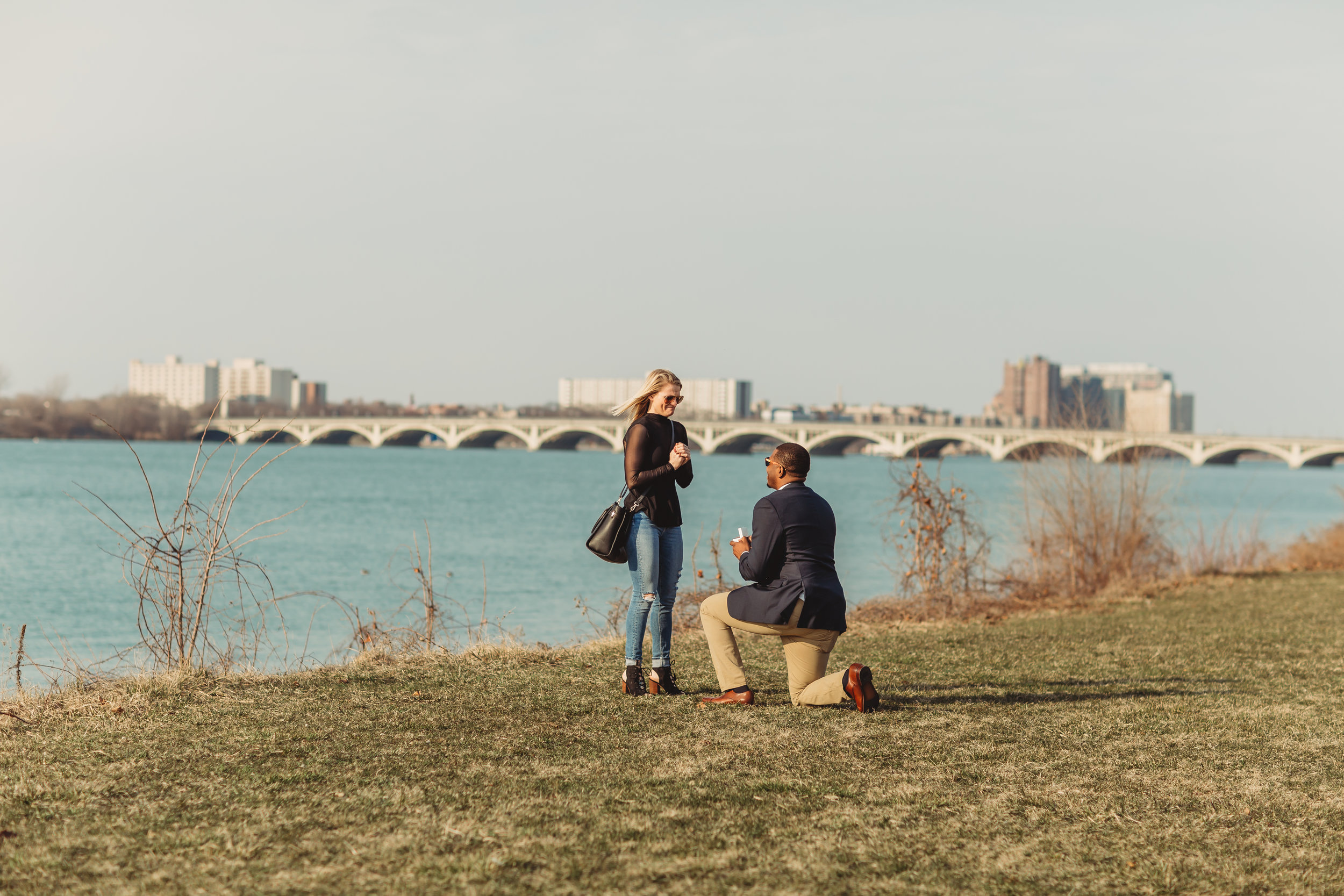Belle Isle Detroit Surprise Proposal Engagement