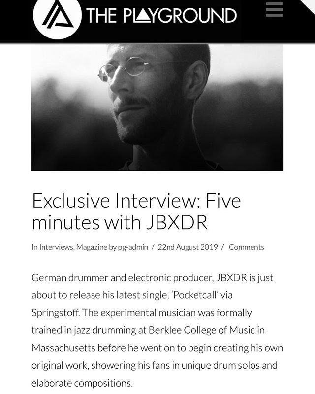 Listen to my new single #Pocketcall and read this sweet little interview about my music over at the amazing folks @playgroundmag 💫➡️ https://www.theplayground.co.uk/exclusive-interview-five-minutes-with-jbxdr/ #springstoff #jbxdr #playgroundmag #newreleases #electronicmusic #instrumentalhiphop @initiativemusik @springstoff #solo #hybriddrums #triggers