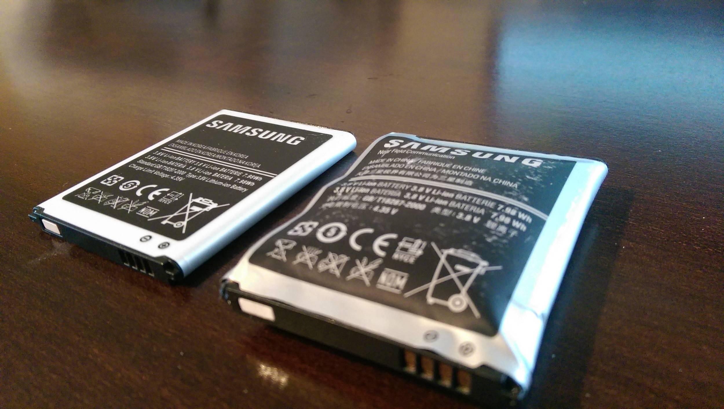 Removable batteries, good vs swollen