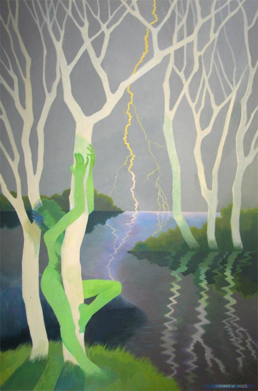 'Green Woman Communing with Tree ' Photo of early stage of painting