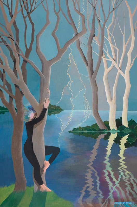 'Woman in Black Communing with Tree'