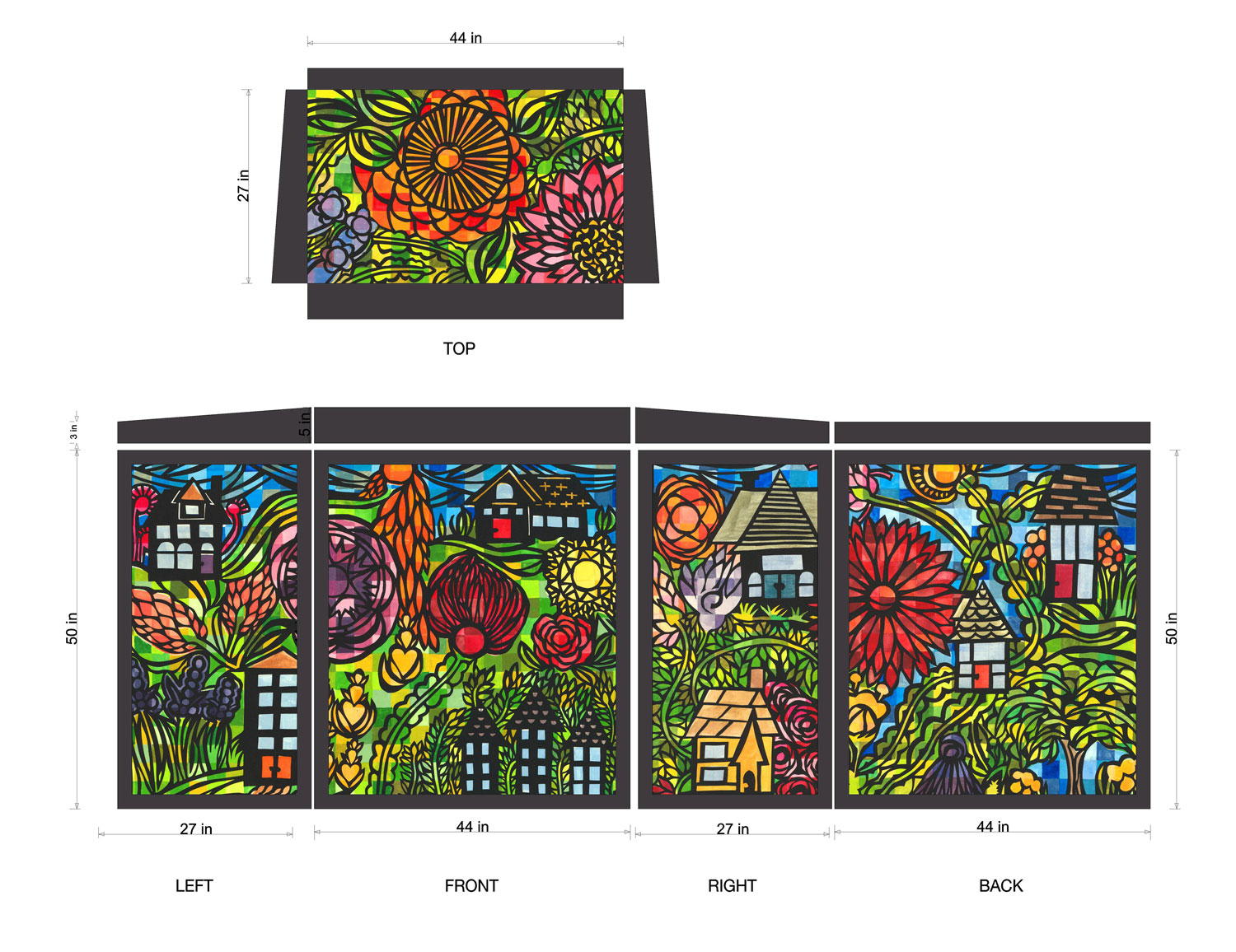 Neighborhood #4 in layout design for the Traffic Box wrap.