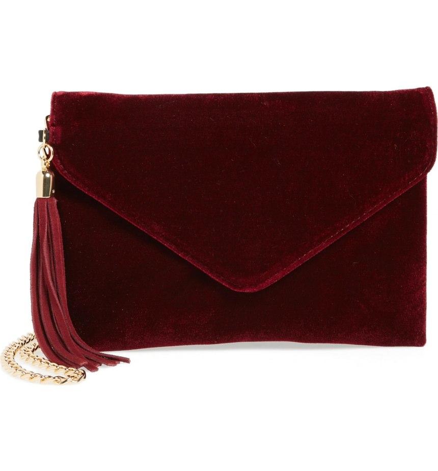 BP. Tassle Velvet Crossbody Bag, Burgundy $39