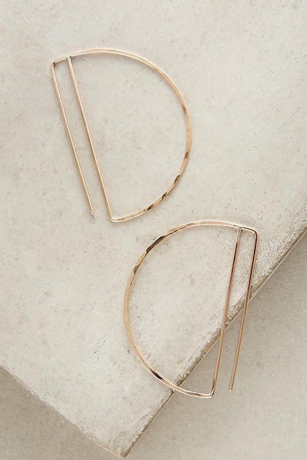 Anthropologie Gold Deco Hoop Earrings $148