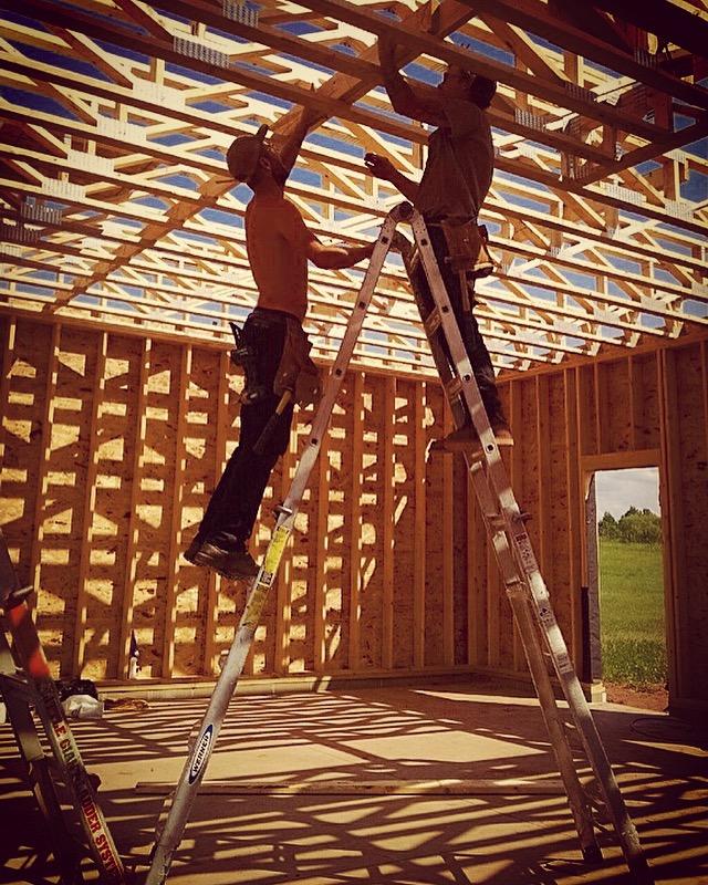 putting up floor trusses