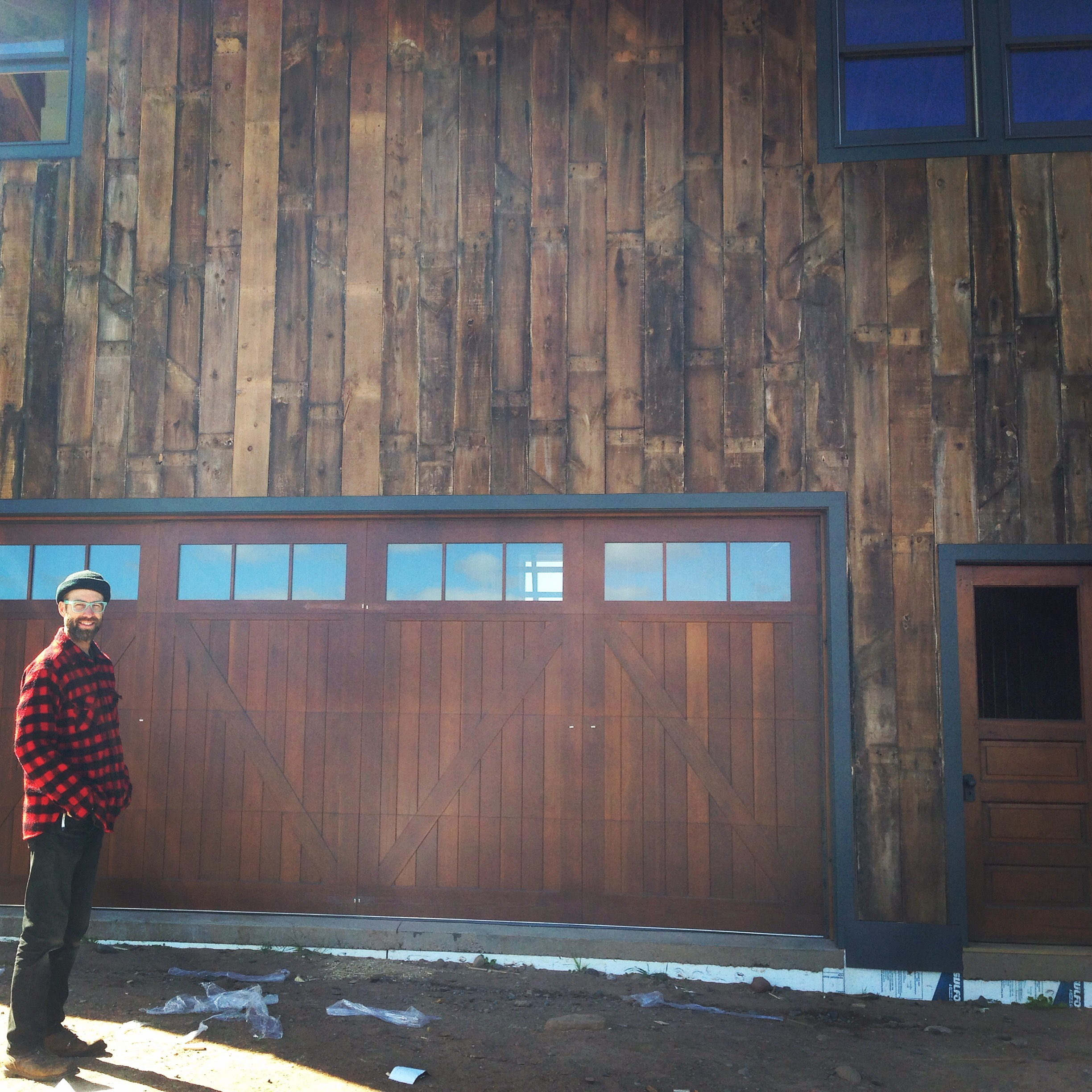 Jason found recycled barn wood for the siding