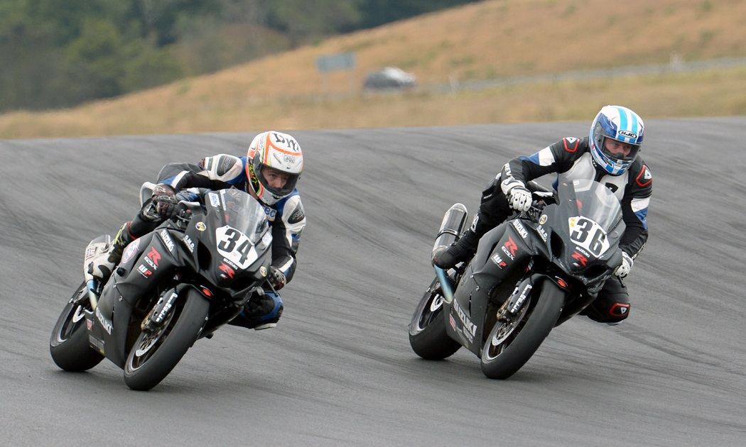 The RCM Team of (34) Daniel Mettam and (36) Ray Clee dominated the Senior category at Round Three of the AMCC Club Series. Both are Suzuki GSX-R1000 mounted, and run in Formula One. Credit: Philip Kavermann