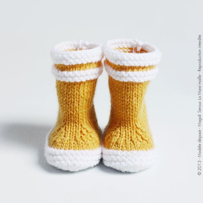 bottes aigle tricot jaune
