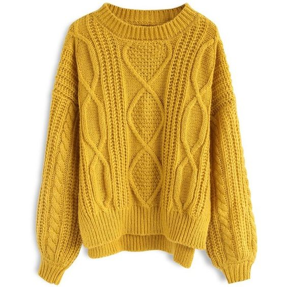 polyvore mustard cable knit sweater