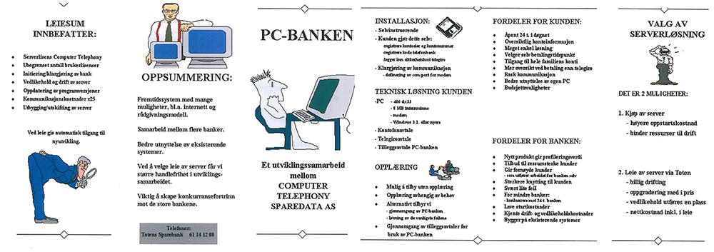 Slik så brosjyren for den første nettbanken vår på 90-tallet ut. Ting har heldigvis blitt enklere!