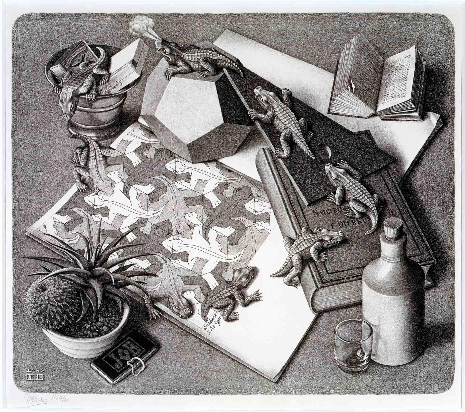 M.C. ESCHER (Dutch, 1898-1972), Reptiles, 1943, Bool #327, lithograph, 13 1/8 x 15 1/8 inches.