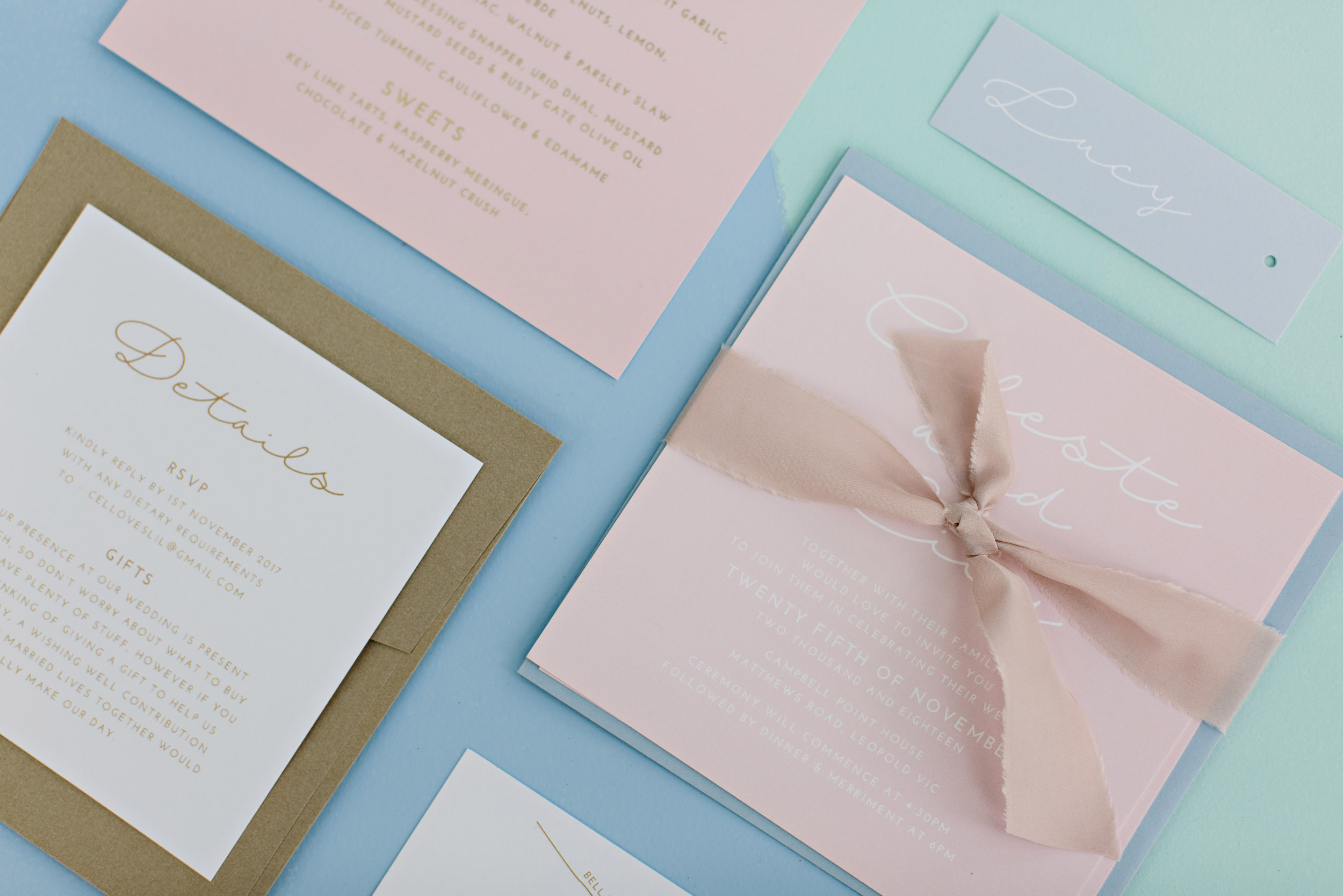 Luxe Pastel Pink Wedding Invitations | Wedding Photography by Kas Richards