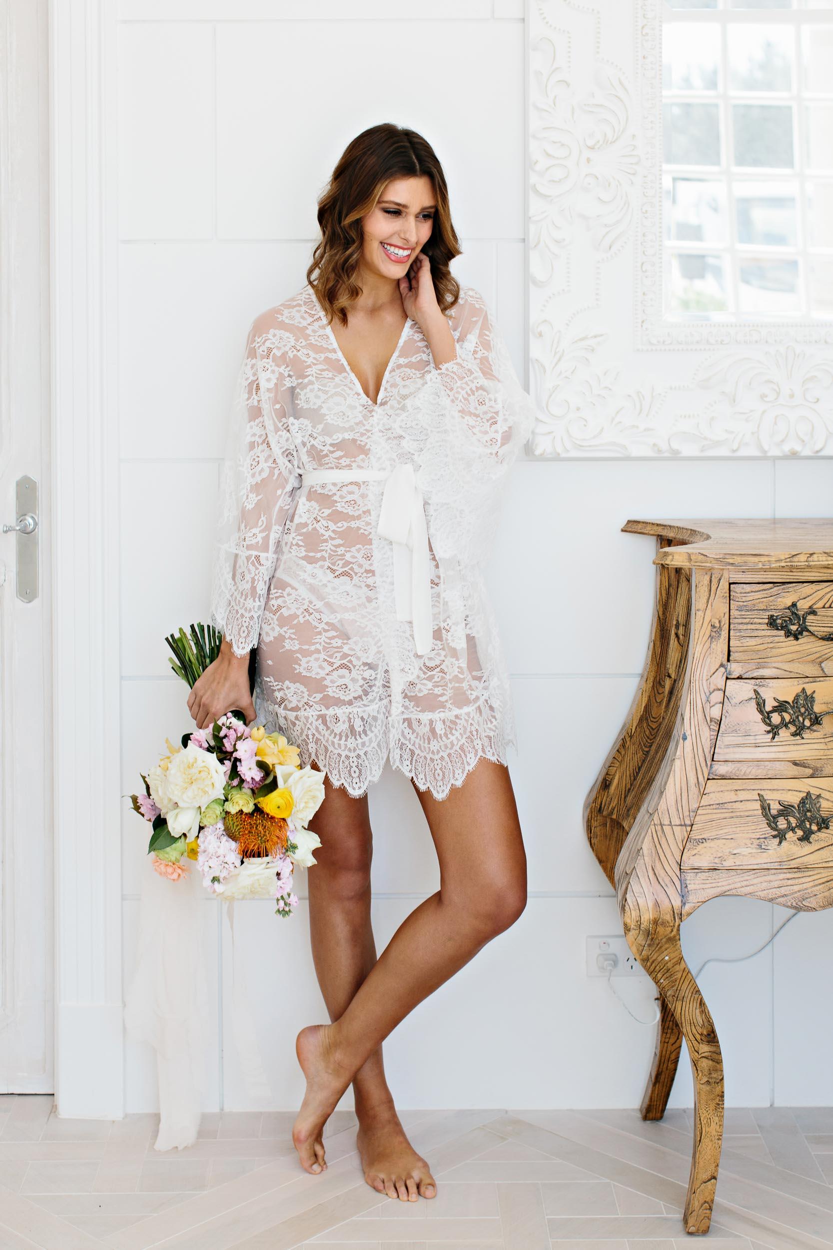 Ivory Lace Bridal Robe | Wedding Photography by Kas Richards