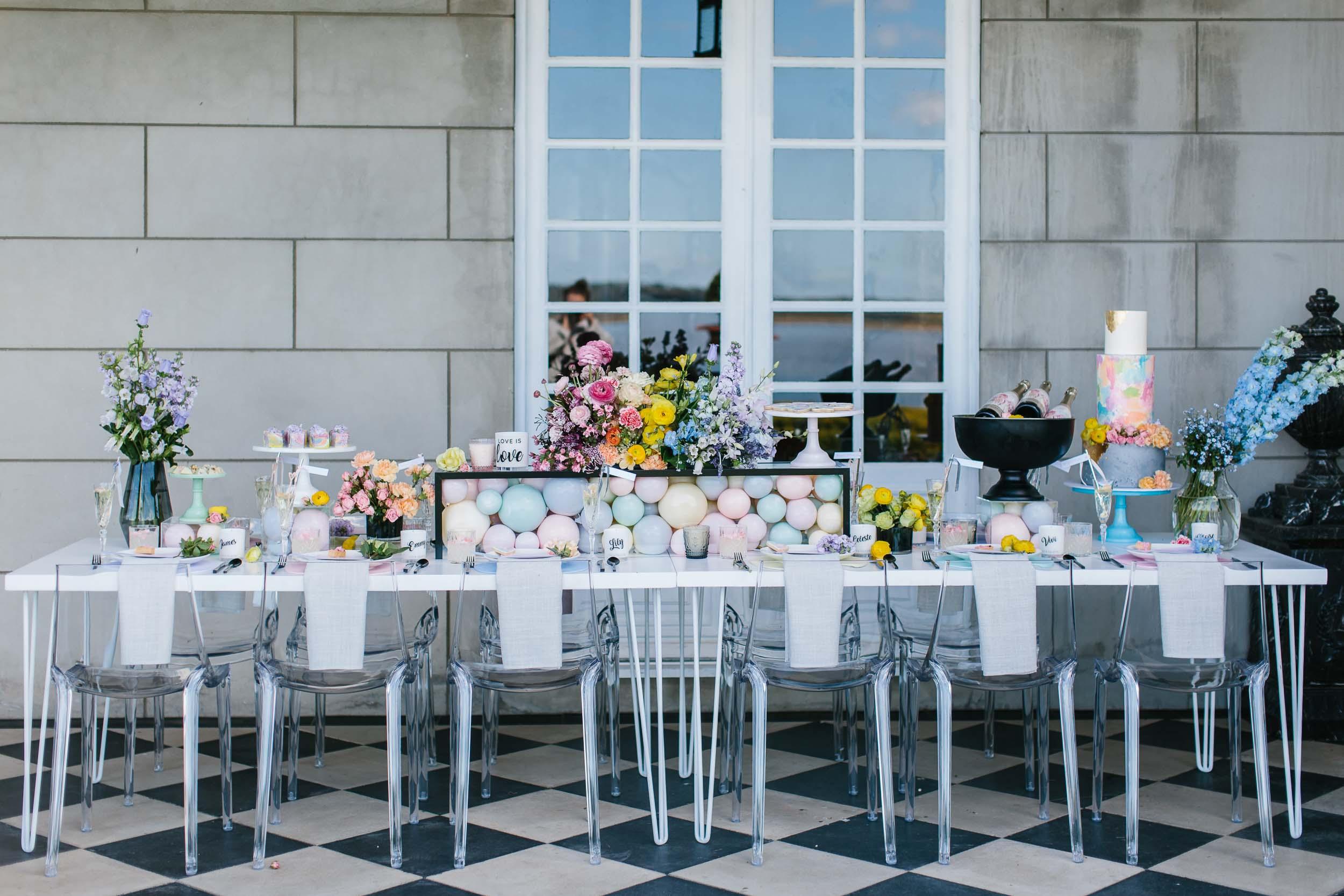 Colourful Rainbow Table Setting | Wedding Photography by Kas Richards