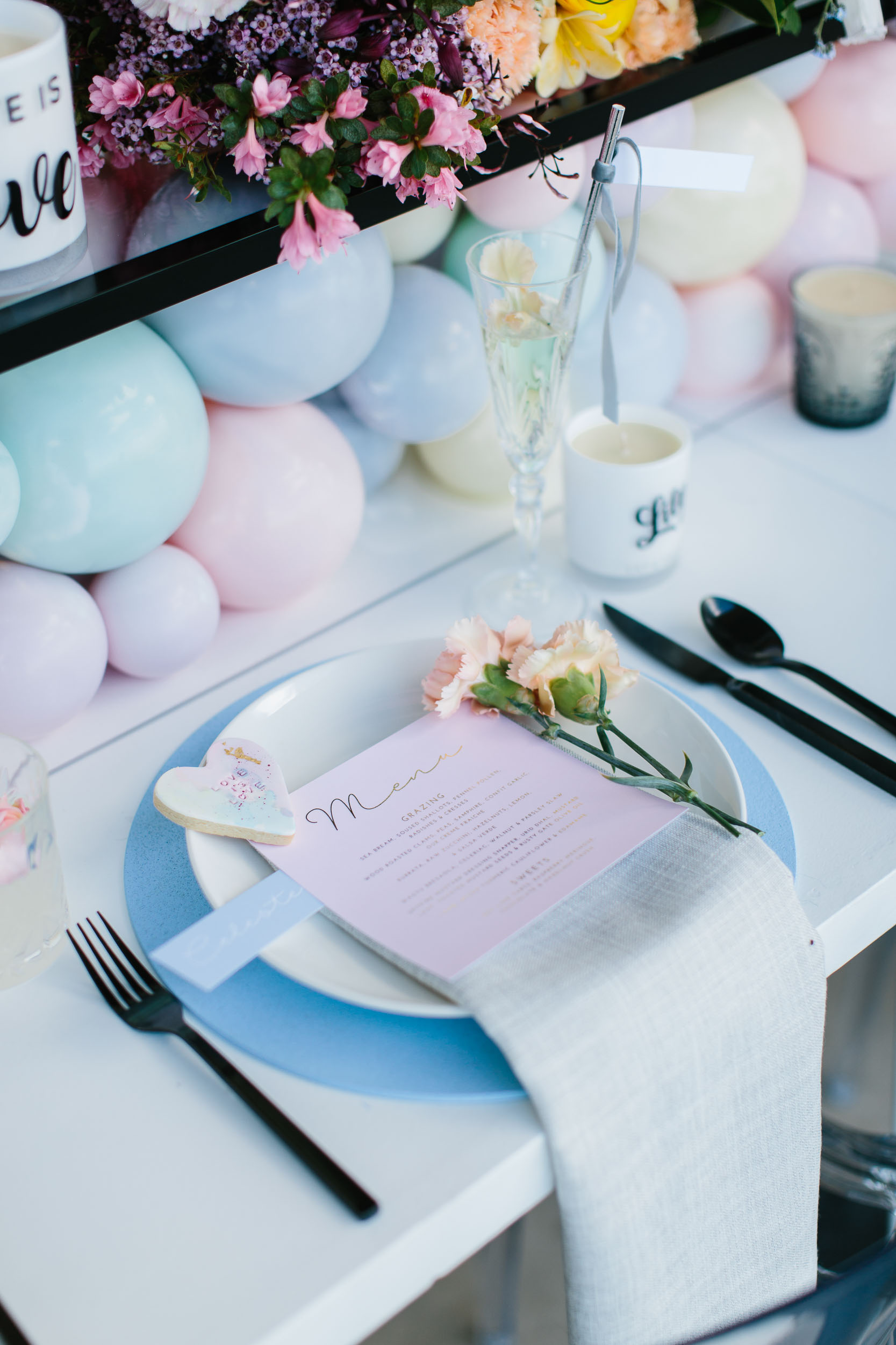 Pastel Rainbow Table Setting | Wedding Photography by Kas Richards