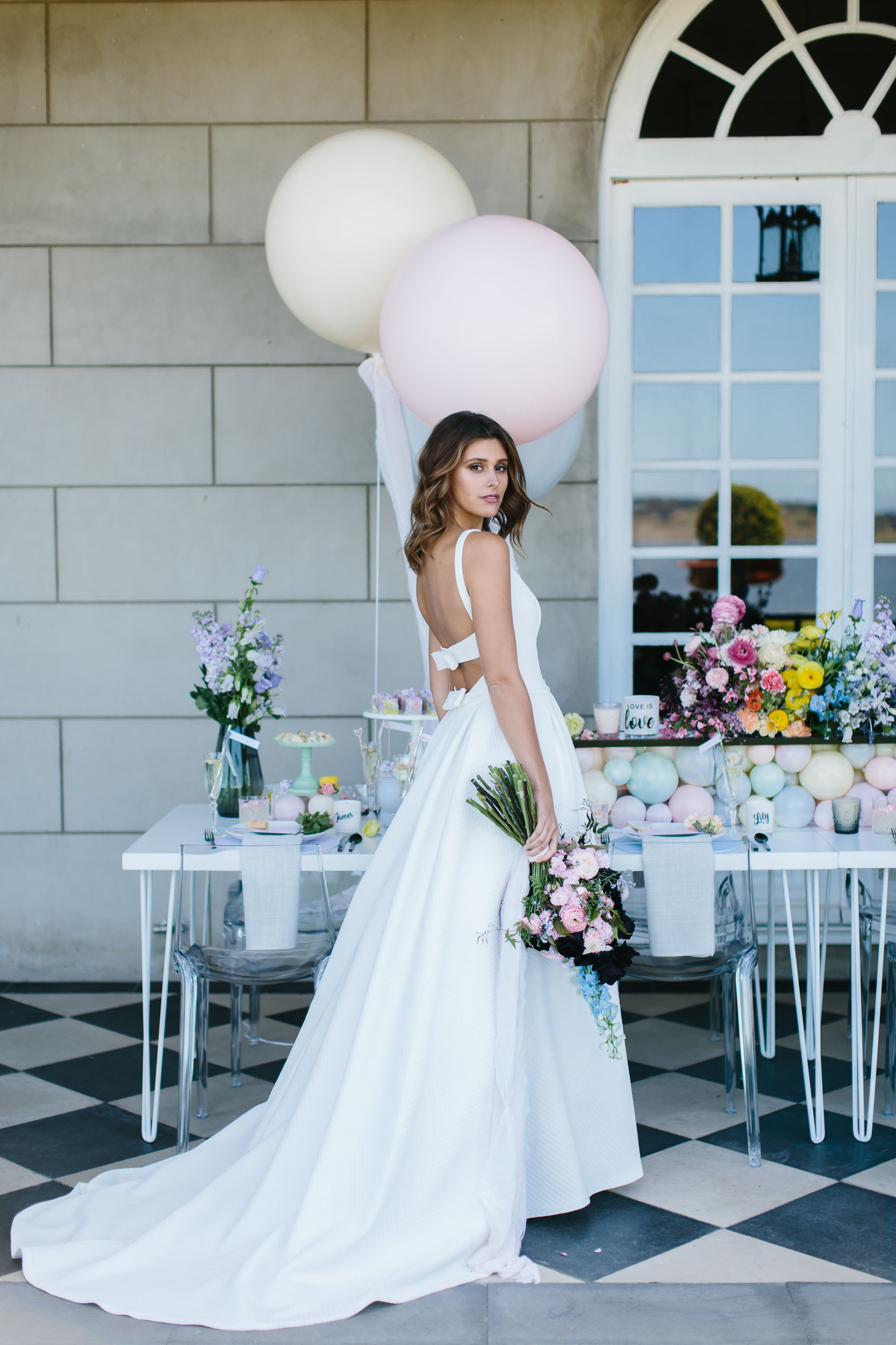 Low Back Wedding Dress with Colourful Styling | Wedding Photography by Kas Richards