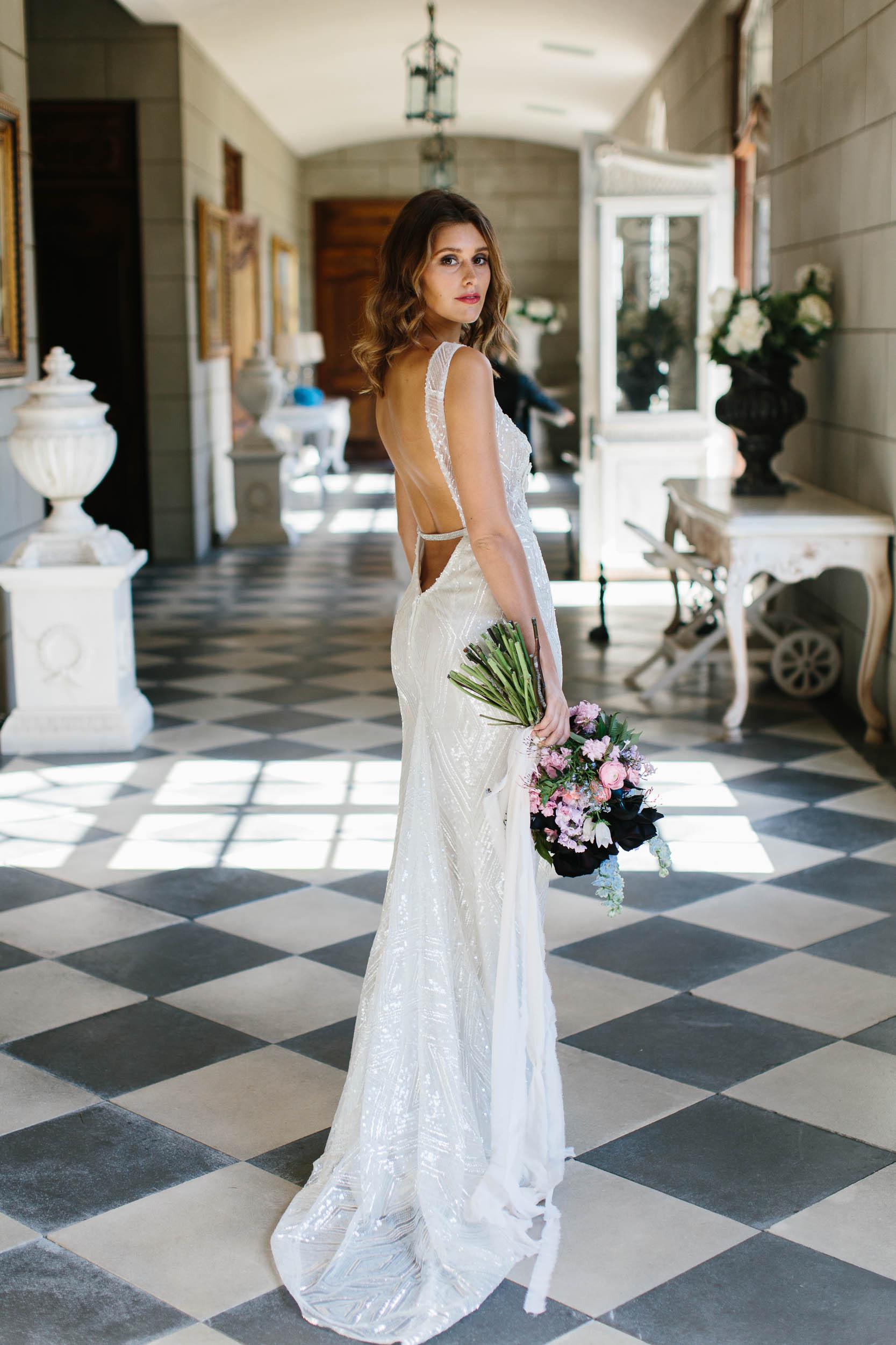 Low Back Beaded Berta Wedding Dress | Wedding Photography by Kas Richards