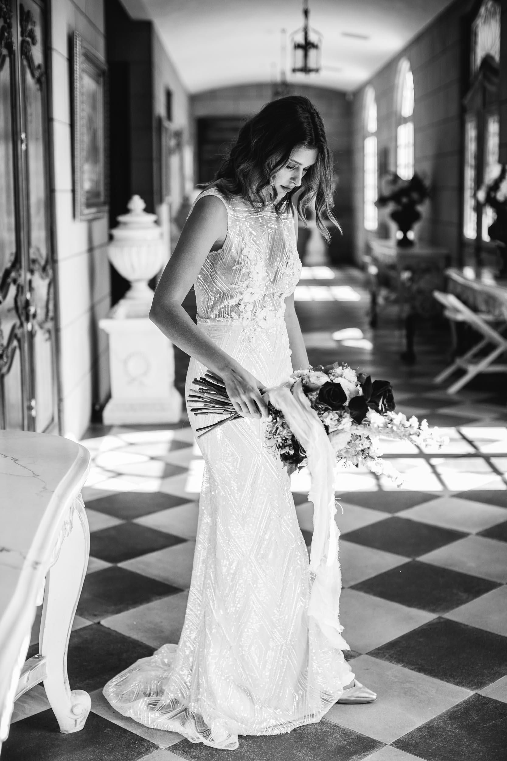 High Neck Beaded Berta Wedding Dress | Wedding Photography by Kas Richards