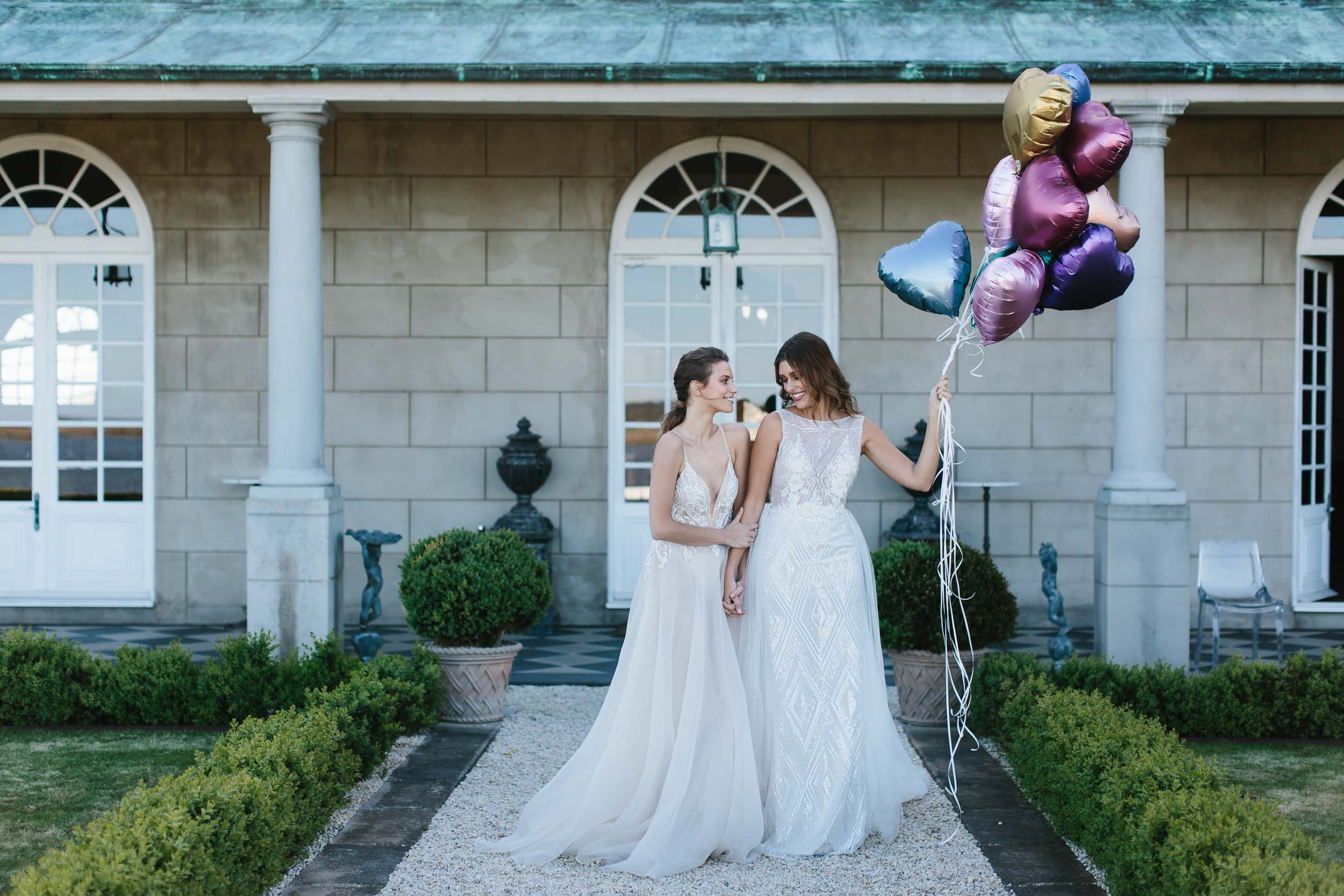 Same Sex Couple Photo with Balloons | Wedding Photography by Kas Richards
