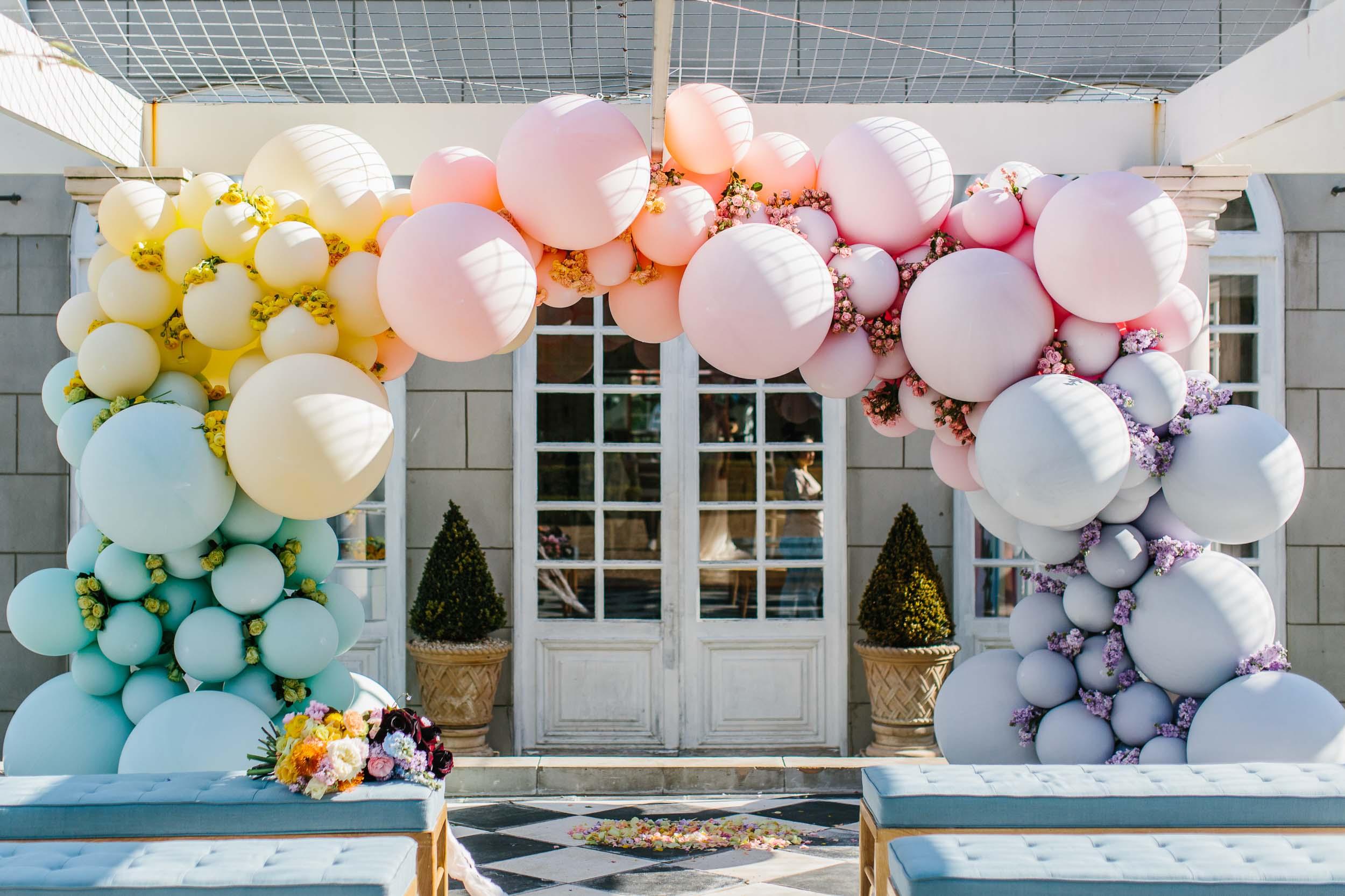 Rainbow Balloon Arch | Wedding Photography by Kas Richards